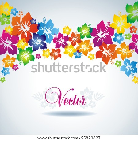 Hibiscus. Colorful floral background. - stock vector