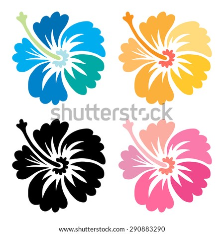Hibiscus flower set - surfing and tropical symbol - stock vector