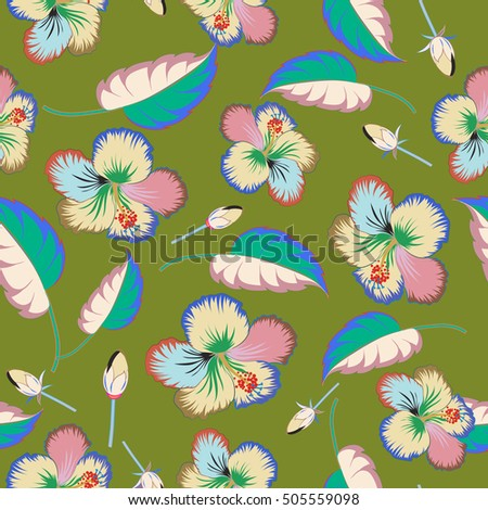 Hibiscus flowers and buds retro vector seamless illustration on green background.