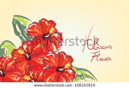 Hibiscus flowers, hand drawing sketch - stock vector