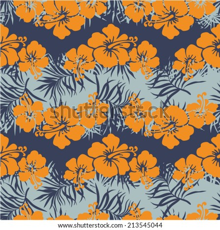 Hibiscus flowers seamless pattern, Vintage floral vector wallpaper in custom colors  - stock vector