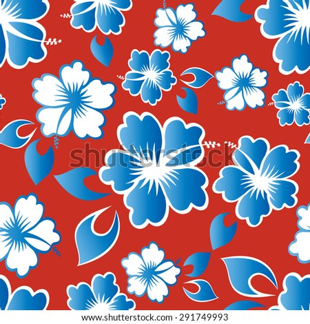 Hibiscus pattern seamless vector