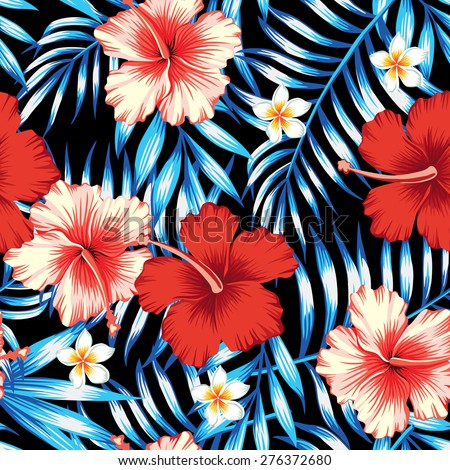 hibiscus red and palm leaves blue seamless background - stock vector