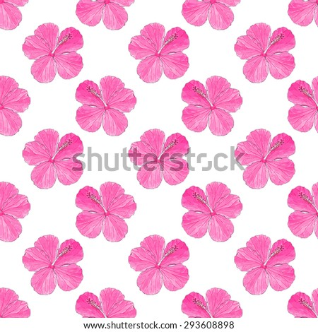 Hibiscus. Seamless pattern with flowers. Hand-drawn background. Vector illustration. Real watercolor drawing.