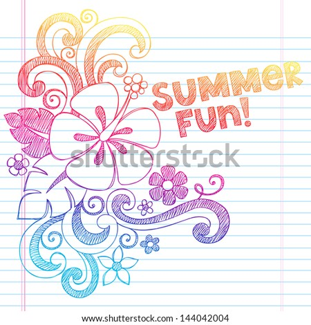 Hibiscus Summer Fun Tropical Vacation Sketchy Notebook Doodles Vector Illustration on Lined Sketchbook Paper Background - stock vector
