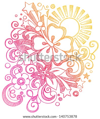 Hibiscus Tropical Summer Sunset Vacation Sketchy Notebook Doodles Illustration on Lined Sketchbook Paper Background - stock vector