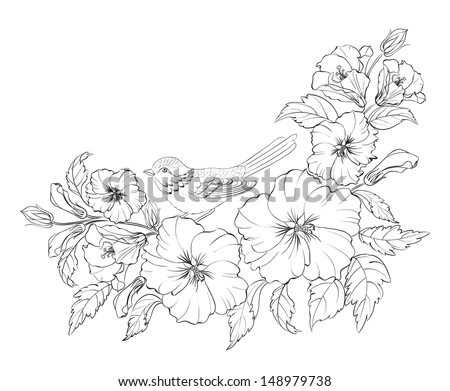 Hibiscus with bird isolated on white background. Vector illustration. - stock vector