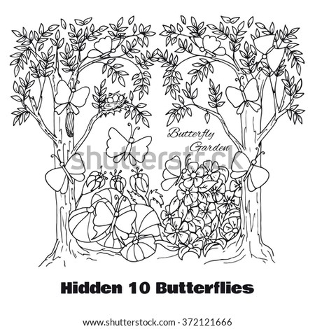 Coloring Pages Of Flowers Games : Hidden objects location find vector stock 372121666
