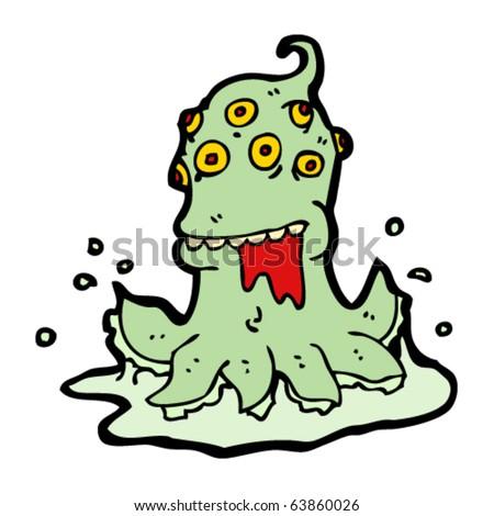 hideous monster cartoon - stock vector