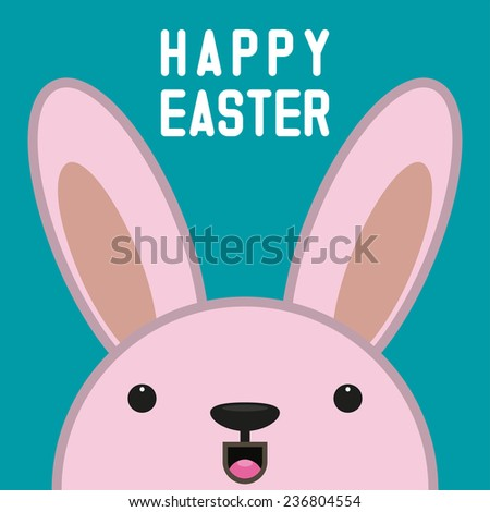 Hiding Easter Bunny card in vector format.  - stock vector