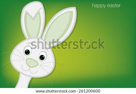 Hiding Easter Bunny card in vector format. - stock vector