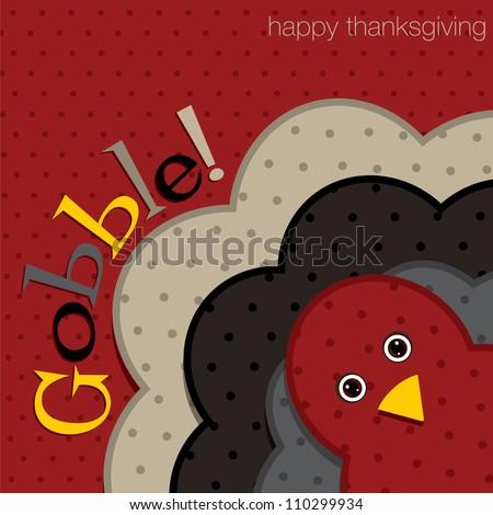 Hiding turkey spotty Thanksgiving card in vector format. - stock vector