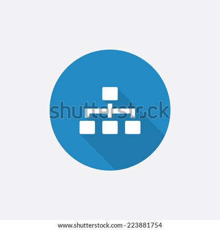 hierarchy Flat Blue Simple Icon with long shadow, isolated on white background   - stock vector