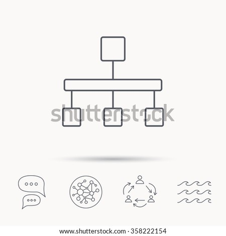 Hierarchy icon. Organization chart sign. Database symbol. Global connect network, ocean wave and chat dialog icons. Teamwork symbol. - stock vector