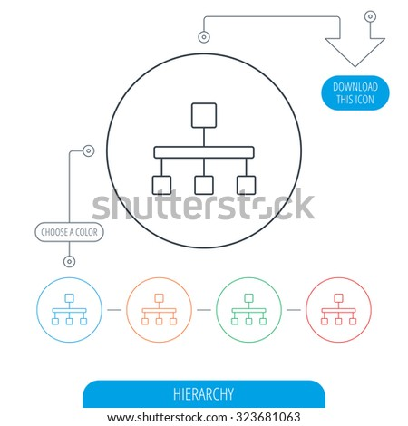 Hierarchy icon organization chart sign database stock vector hierarchy icon organization chart sign database symbol line circle buttons download arrow ccuart Choice Image