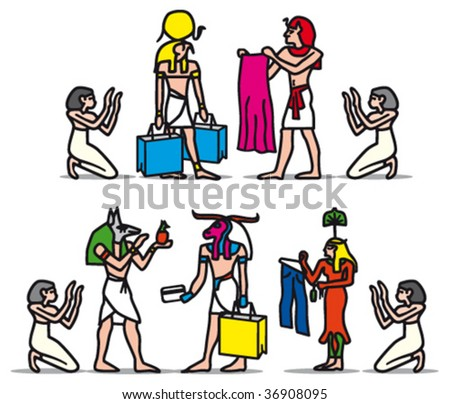 hieroglyphs shopping color - stock vector