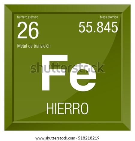 Hierro symbol iron spanish language element stock vector 518218219 hierro symbol iron in spanish language element number 26 of the periodic table of urtaz Images