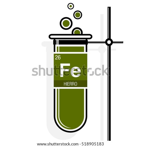 Hierro symbol iron spanish language on stock vector 2018 518905183 hierro symbol iron in spanish language on label in a green test tube with urtaz Images