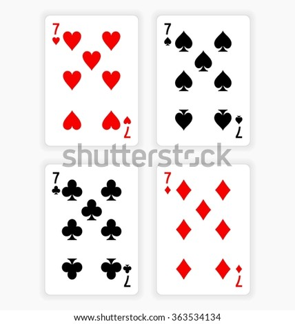 High Angle View of Four Playing Cards Spread Out on White Background Showing Sevens from Each Suit - Hearts, Clubs, Spades and Diamonds