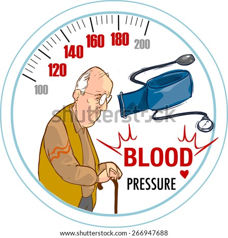 high blood pressure and the old man - stock vector
