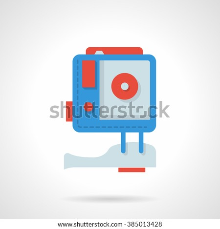 High definition photo video camera. Device for extreme action video. Digital camera. Vector icon flat color style. Web design element for site, mobile and business. - stock vector