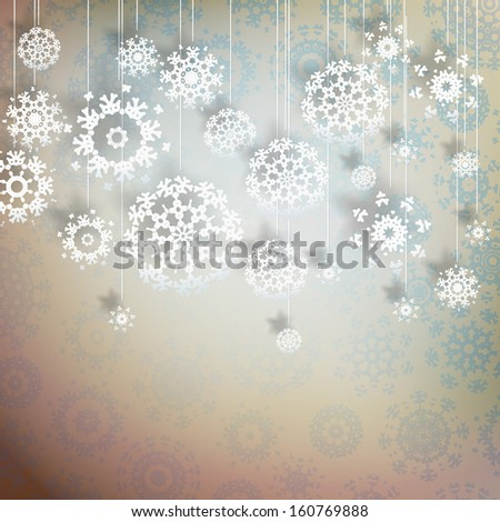 High definition snowflakes on beidge background. EPS 10 vector - stock vector
