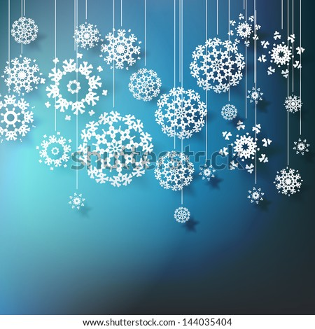 High definition snowflakes on blue background. EPS 10 vector - stock vector