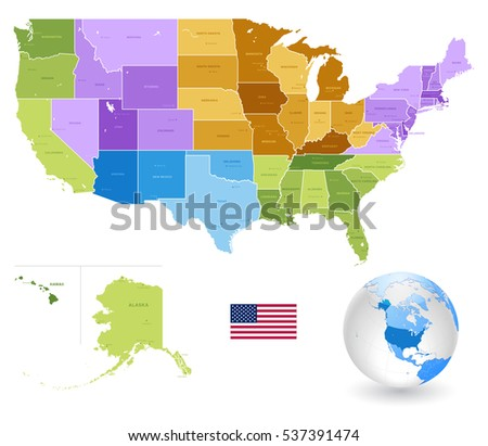 High Detail Colorful Vector United States Of America States And Major Cities With Also A