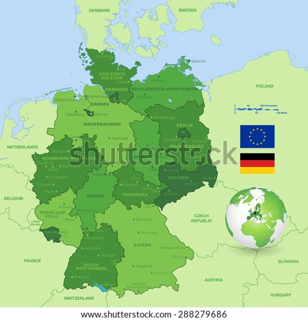 high detail green vector map of germany states and major cities with a 3d globe