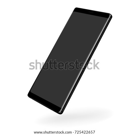 high detail new phone perspective angle view vector drawing isolated on white background