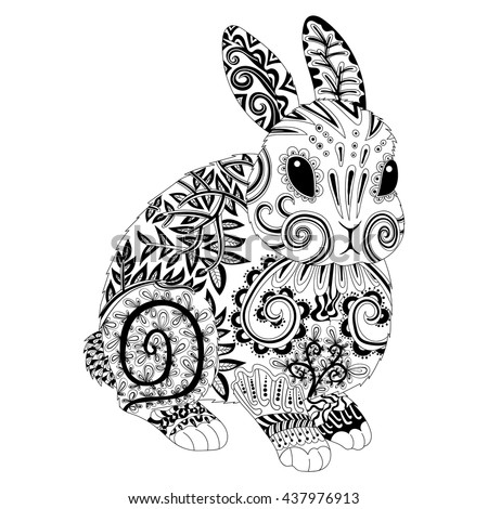 High Detail Patterned Rabbit In Zentangle Style Adult Coloring Page For Antistress Art Therapy