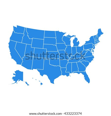 High detail USA map for each country. United States of America map in flat style. Blue america usa federal states map isolated on white background - stock vector