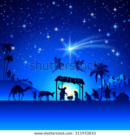 High detail Vector nativity Christmas Scene. - stock vector