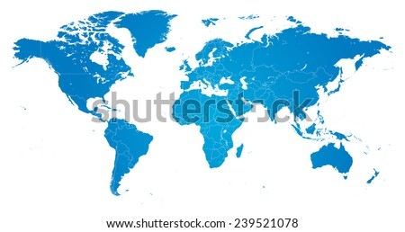 High Detail Vector Political World Map illustration, cleverly organized with layers - stock vector