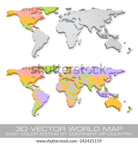 High detail vector political world map stock vector 242425159 high detail vector political world map illustration with 3d shadow effect cleverly organized with layers gumiabroncs Image collections