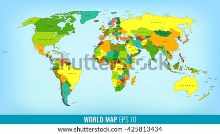 High Detail World Map. Vector illustration - stock vector