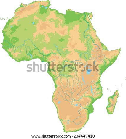 High detailed Africa physical map. - stock vector