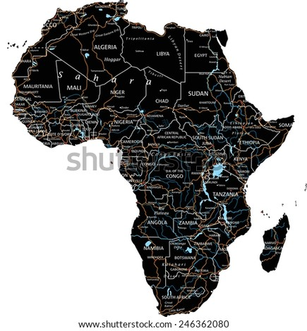 High detailed Africa road map with labeling - Black. (clearly labeled on separated layers) - stock vector