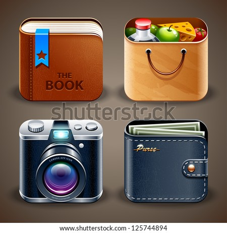 High detailed apps icons set. Vector illustration. - stock vector