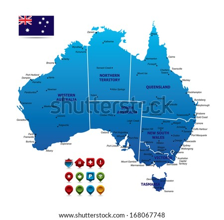 High detailed Australia Map - stock vector