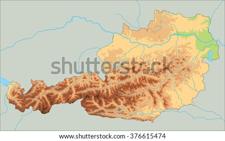 High detailed Austria physical map. - stock vector