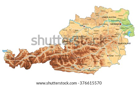 High detailed Austria physical map with labeling. - stock vector