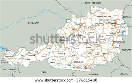 High Detailed Austria Physical Map Stock Vector - Road map of austria