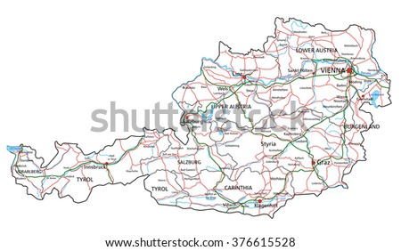 High detailed Austria road map with labeling. - stock vector