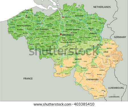 High detailed Belgium physical map with labeling. - stock vector