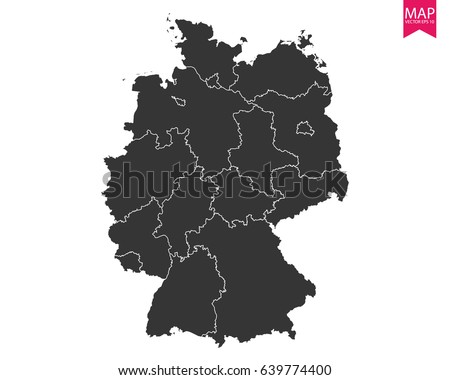Transparent High Detailed Grey Map Germany Stock Vector - Germany map eps