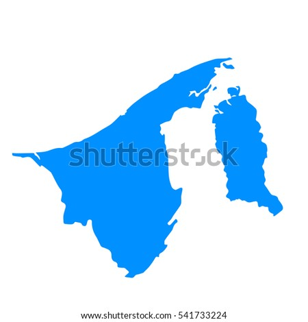 High detailed blue map of Brunei. Vector illustration eps 10.