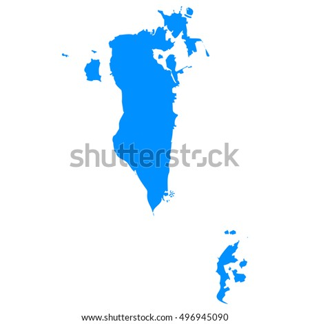 High detailed blue vector map - Bahrain