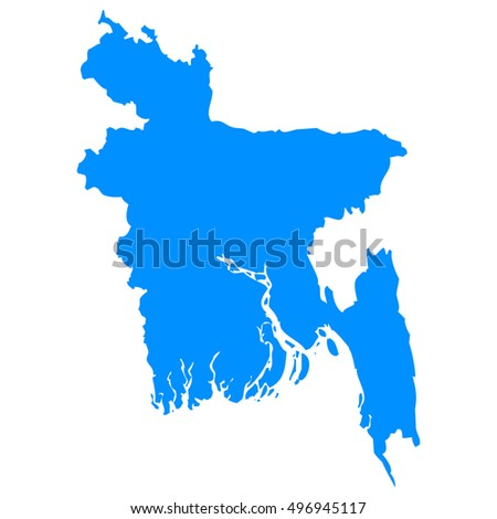 High detailed blue vector map - Bangladesh