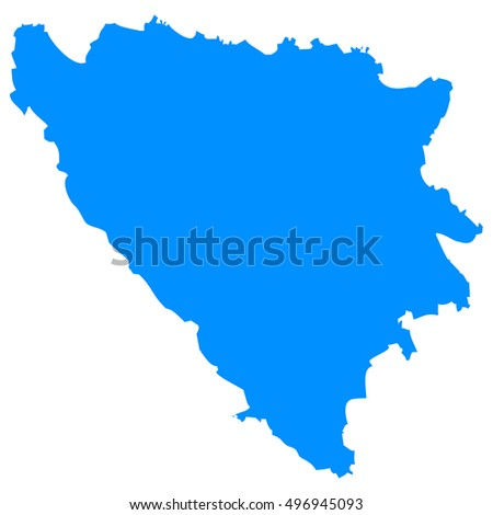 High detailed blue vector map - Bosnia & Herzegovina